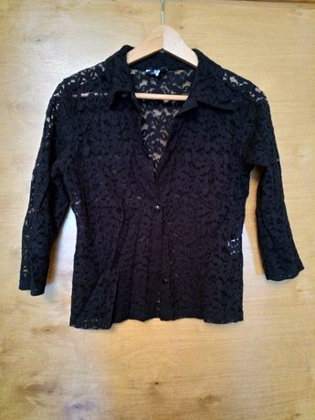 Koronkowa koszula narzutka czarna z kołnierzykiem L