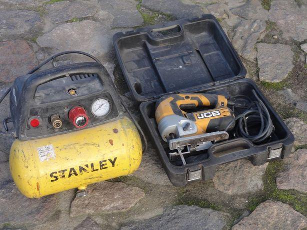 Wyrzynarka JCB 710W Sprężarka Stanley, nowe wiertło  sds 45 mm Hawera