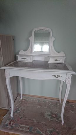 Toaletka ludwikowska z szafką marmur blat antyk