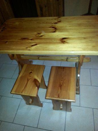 Stół, taborety, krzesła, drewniane REZERWACJA