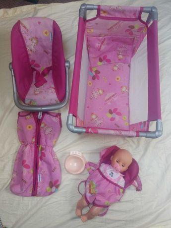 Zestaw z lalką, łóżeczkiem, nosidełkiem+śpiworkiem+nocniczek