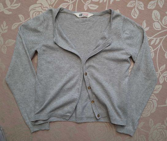 Szary dziewczęcy sweterek H&M r. 122/128