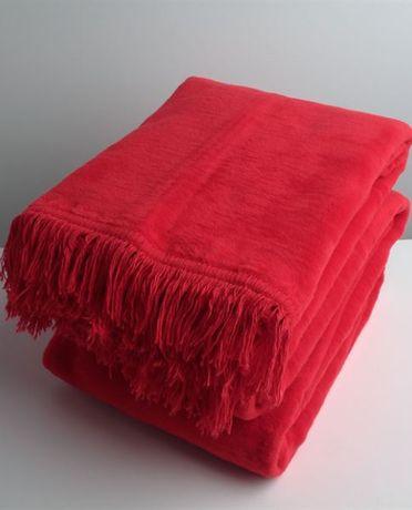 Koc bawełniany 150x200 czerwony gładki z frędzlami 0293-27