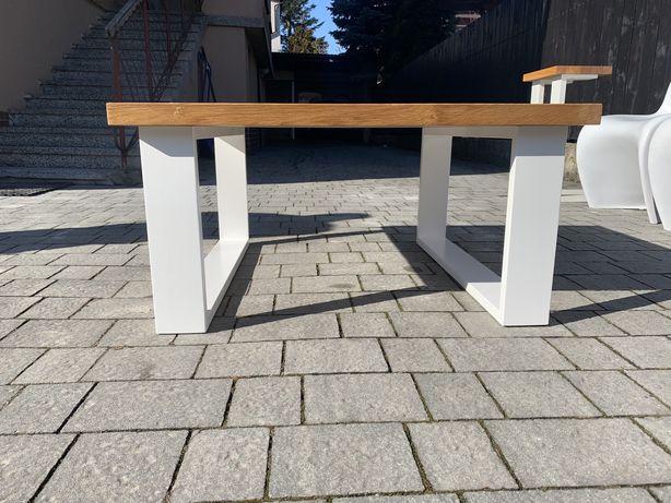 Dębowy stolik ława i pomocnik