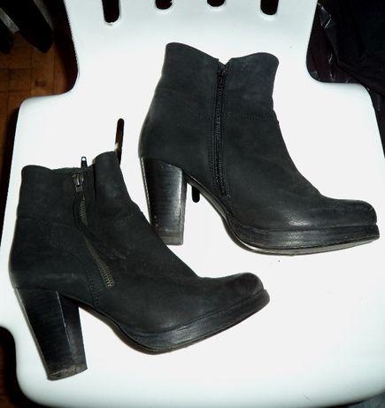czarne skórzane botki reserved 38