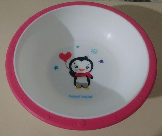 Тарелка-миска Canpol Babies с нескользящим дном, розовая с пингвином