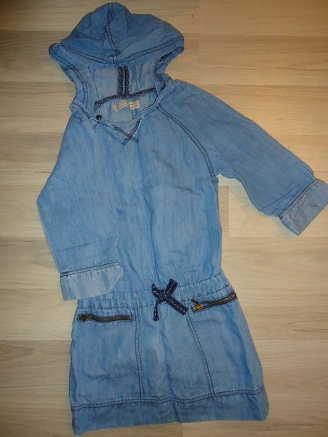 Sukieneczka dżinsowa z kapturem Zara rozm 122
