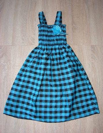 Sukienka w krarkę marszczona u góry dł. 65 cm