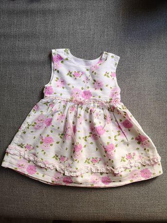 Sukienka w kwiatki na wesele, roczek roz.74/80