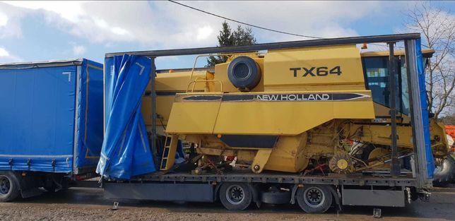 New Holland TX64 heder 4,5m, stół do rzepaku, wózek, zdjecia z Francji