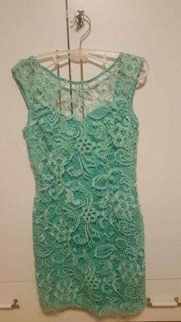 Sukienka koronka miętowa S