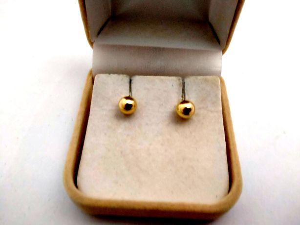 Złote Kolczyki KULKI 585PR 1,29G