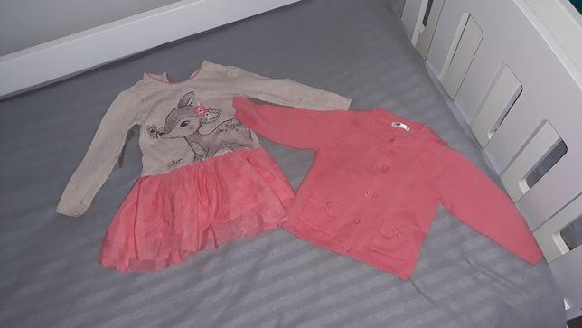 Sukienki dziewczece 3 szt wraz ze sweterek