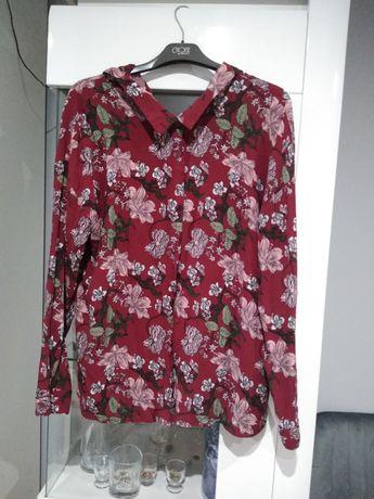 Koszula luźna zapinana wiązana elegancka kwiaty