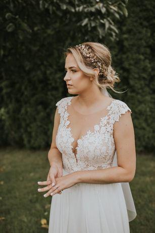Suknia Ślubna SABE roz 38/40-Model LYNN 2020-śmietanowa- Welon Gratis