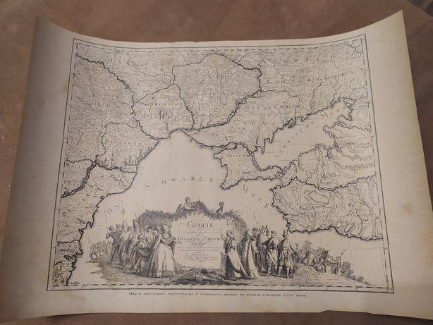 Карта крымского полуострова и соседних земель во второй половине XVIII