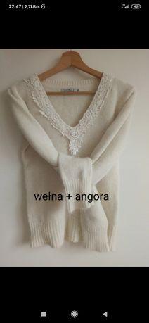 Biały sweterek wełna i angora rozm. L