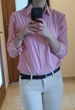 Koszula różowo biała r.36 długi rękaw