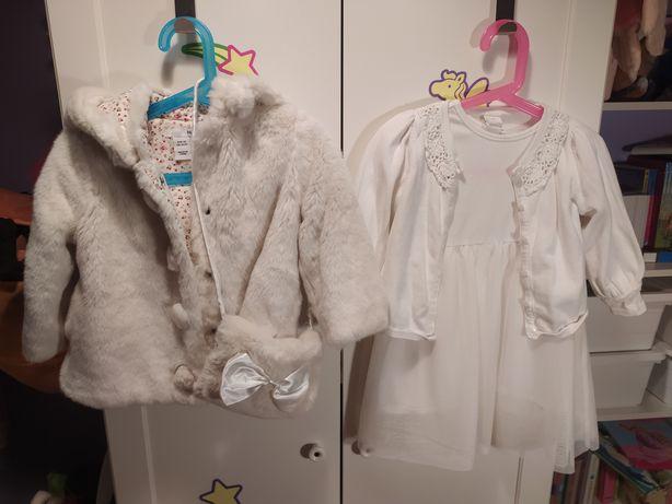 Komplet na chrzest sukienka rozm 92 futerko sweterek H&M