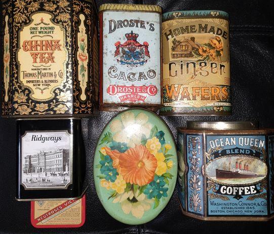 Lote Latas vintage café chá cacau waffers Natal medicinal