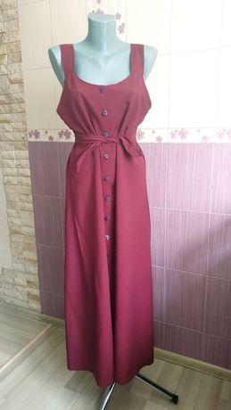 Сарафан марсала платье в пол длинное