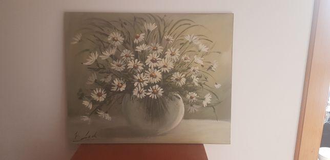 Obraz Kwiaty Rumianki olejny na desce.