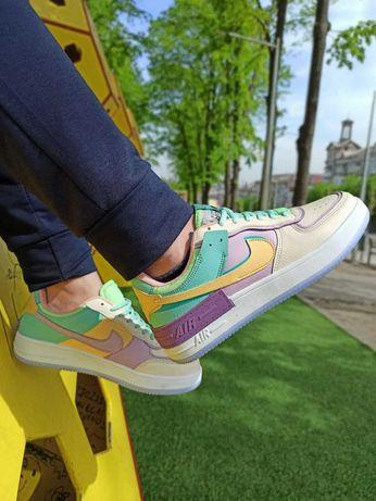 Женские кроссовки весенние Nike Air force shadow бежевые с фиолетовым