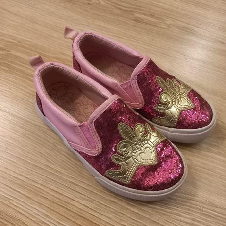 Buty typu slip on księżniczki brokatowe różowe wsuwane 28 Disney