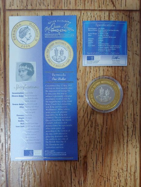 монета 1 доллар 2000 год бермуда позолота редкая