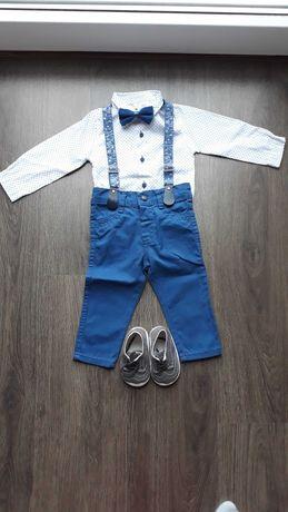 Elegancki komplet niemowlęcy - koszulobody, spodnie, szelki, mucha
