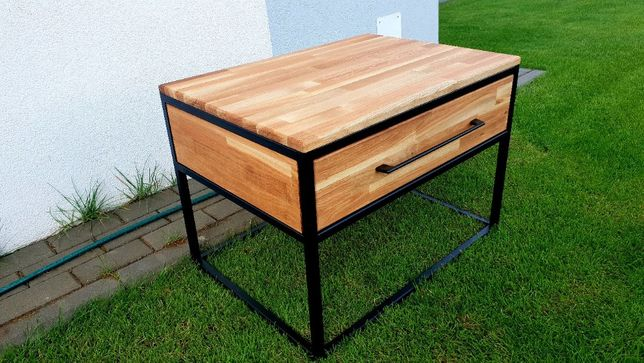 Stolik kawowy-drewno dąb industrial loft 70x50x50