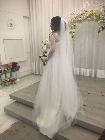 Дизайнерское свадебное платье 2в1 еврофатин