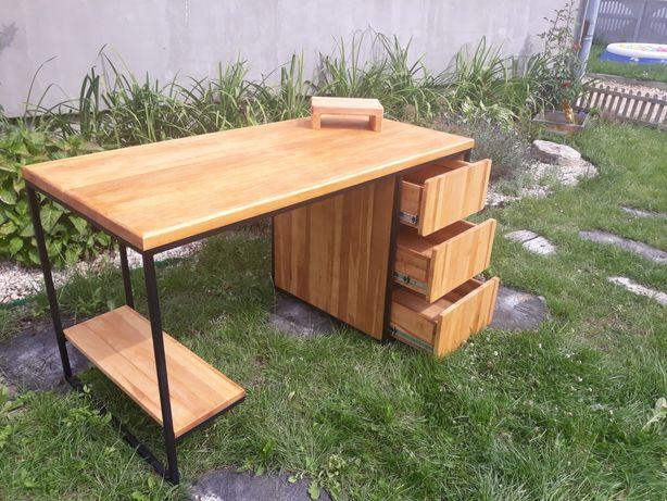 Biurko Loft/industrialne lite drewno blat 4 cm grubości