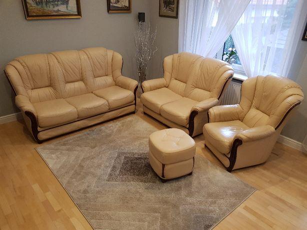 Komplet mebli skórzanych - kanapy, fotel i puf
