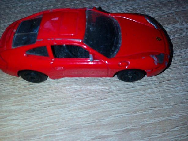 autko samochodzik metalowy PORSCHE czerwone 7,5 cm