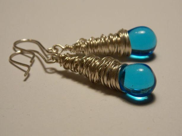Oryginalne kolczyki błękitne łezki srebro 925 drucik