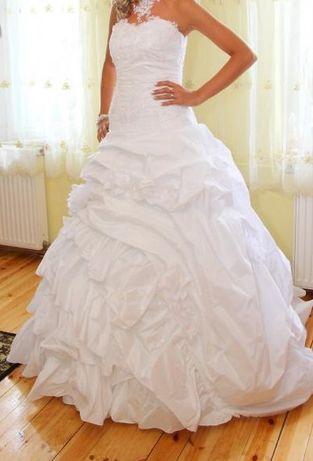 Suknia ślubna, biała, tren, 36-38, regulowana, Swarovski