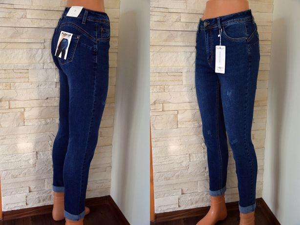 Spodnie Jeans Rurki Wysoki Stan SHINY Ś PUSH UP 38