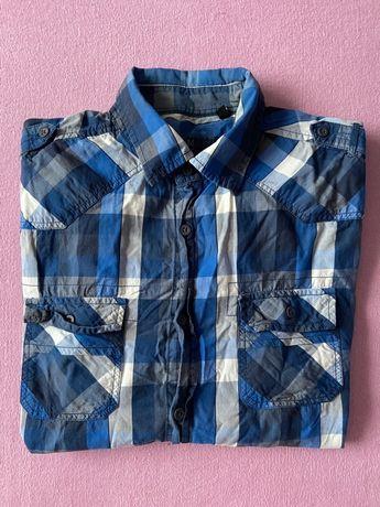 Koszula męska w kratę - krótki rękaw ClockHouse L