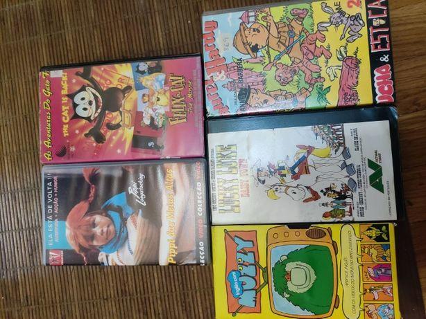 VHS antigas animação MUZZY Pippi das Meias Altas Lucky Luke Felix