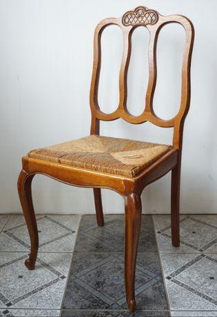 krzesła krzesło ludwik ludwikowskie z rafią stare antyki dębowe
