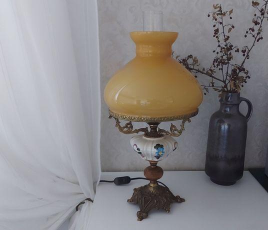 Lampa, lampka nocna, biurko, Ceramika Mosiądz Szkło!!!
