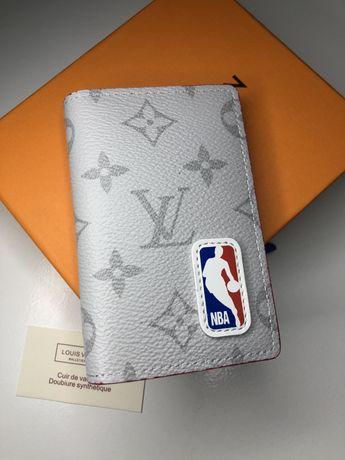 Мужской лимитированый кожаный кошелек LV+NBA