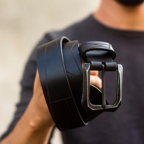 Кожаный Мужской Ремень GEOMETRIC - Уникальный дизайн, Итальянская кожа