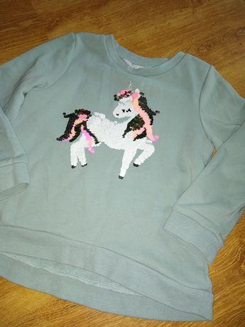 Bluza h&m 110/116 unicorn jednorożec