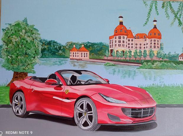 Картина маслом на холсте Феррари Машина Авто пейзаж