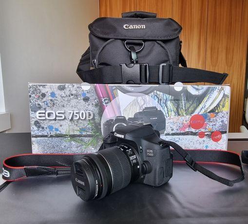 Câmara Canon 750D + objetiva, cartão 16 GB e bolsa de transporte