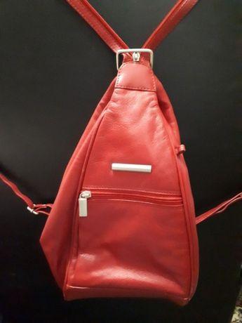 Стильная сумка \рюкзак \женская кожаная\ Италия\ Красный