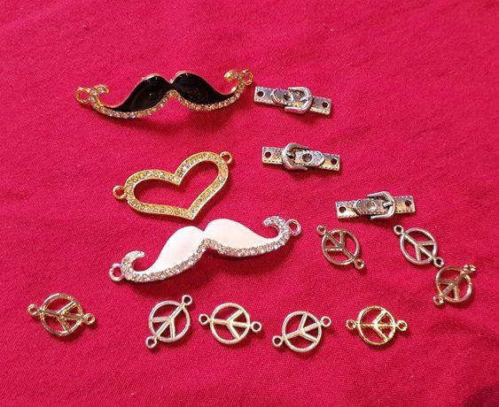 Zestaw półfabrykatów do wyrobu biżuterii w kolorze złotym łączniki