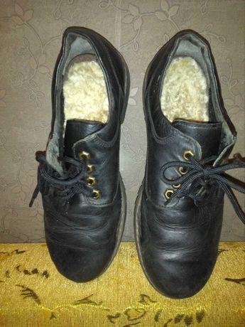 Ботинки туфли мужские кожаные теплые 41-42